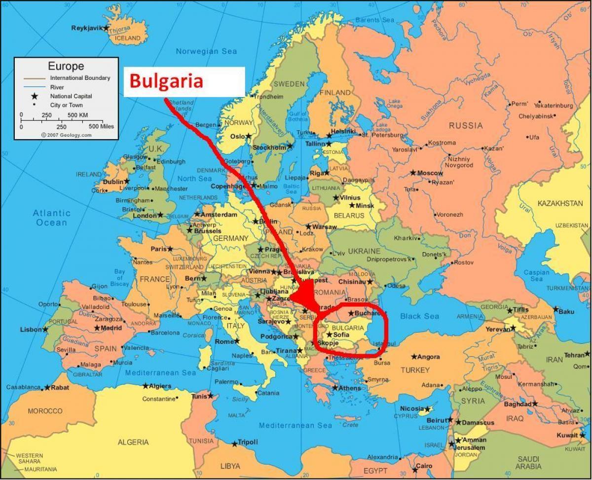 Karta Over Bulgarien Och Omgivande Lander Karta Bulgarien